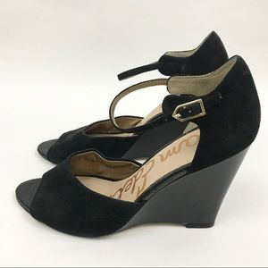 Sam Edelman 9 Wedge Suede Leather Black Heels